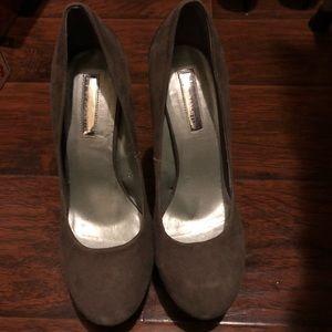 Suede Gray heels with metal back